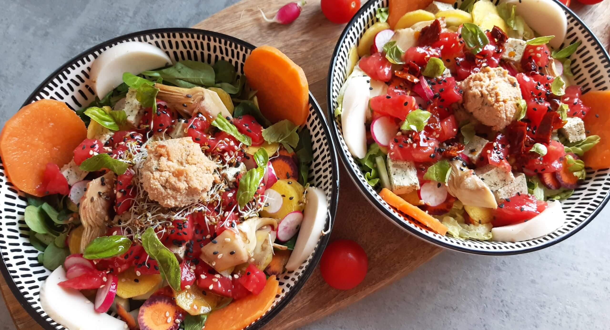 Salade colorée vue de dessus